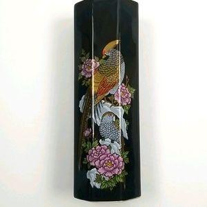 Vintage Japanese Black Ceramic Vase With Pheasant